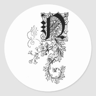 Monogram N with Acanthus Leaf Classic Round Sticker