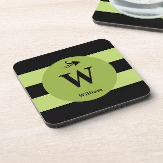 Monogram name black and lime green coaster