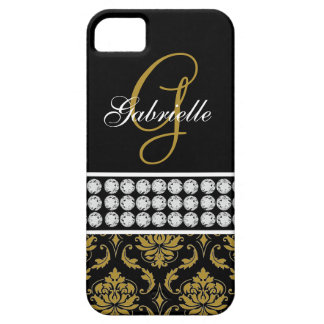 Monogram Name Black Gold Damask iPhone 5 Case