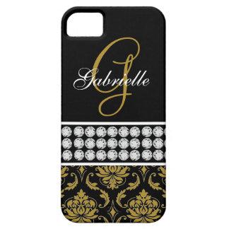 Monogram Name Black Gold Damask iPhone 5 Case
