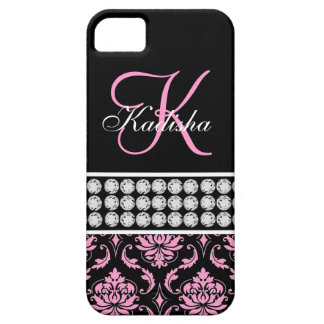 Monogram Name Black Pink Damask iPhone 5 Case