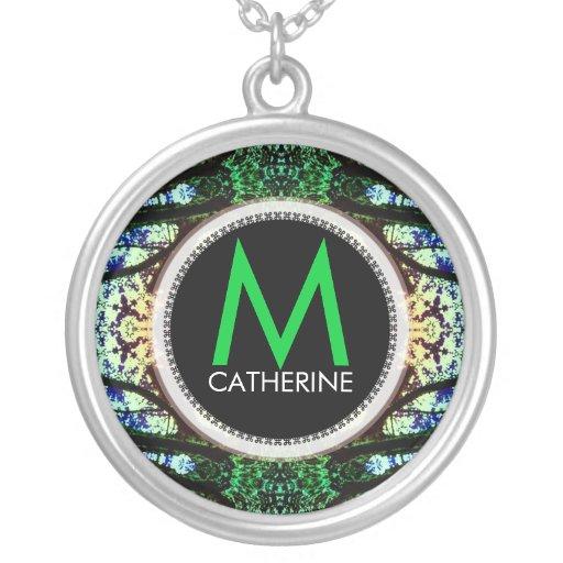 Monogram Name Blue Green Batik Necklace