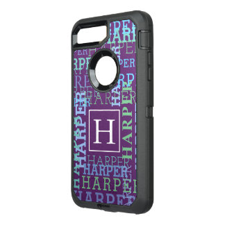Monogram Name Cloud Purple Color OtterBox Defender iPhone 8 Plus/7 Plus Case