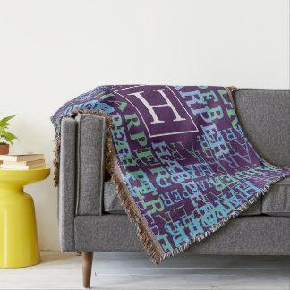 Monogram Name Cloud Purple Throw Blanket