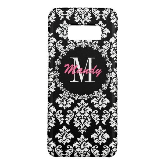 Monogram Name Fleur de Lis Damask Pattern Case-Mate Samsung Galaxy S8 Case
