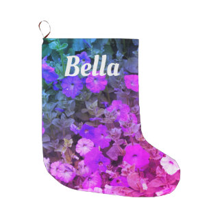 Monogram Name Girly Purple Pink Floral Flowers Large Christmas Stocking