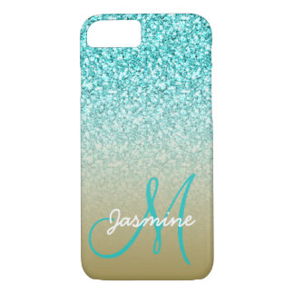 Monogram Name Girly Teal Glitter Gold Ombre iPhone 8/7 Case