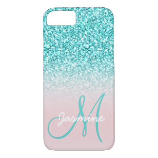 Monogram Name Girly Teal Glitter Pink Ombre iPhone 8/7 Case