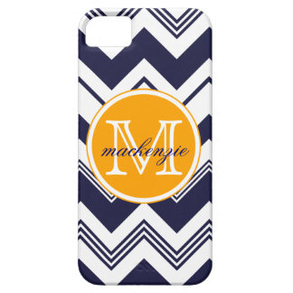 Monogram Name Navy Blue White Chevron Pattern iPhone 5 Cases