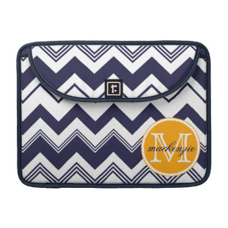 Monogram Name Navy Blue White Chevron Pattern Sleeve For MacBook Pro