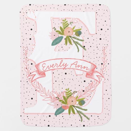 Monogram Name Peachy Pink Garland Dalmatian Dots Swaddle