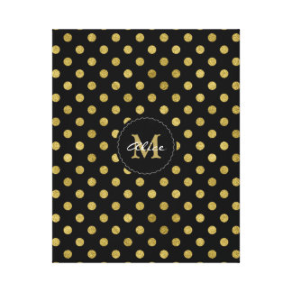 Monogram & Name | Polka Dots Gold Canvas Print