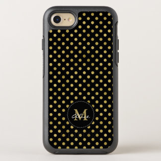 Monogram & Name | Polka Dots Gold OtterBox Symmetry iPhone 7 Case