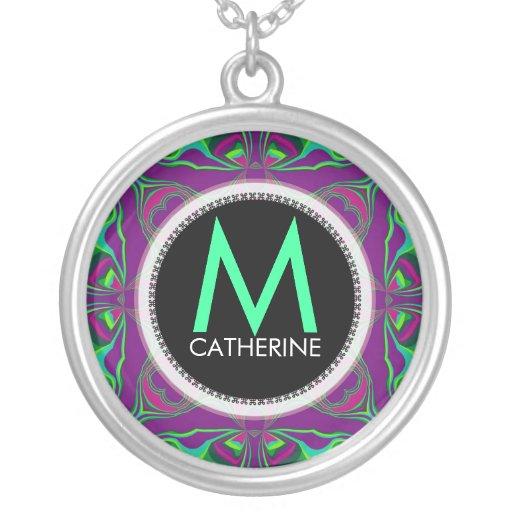 Monogram Name Purple Green Psychedelic Gift Neckla Jewelry