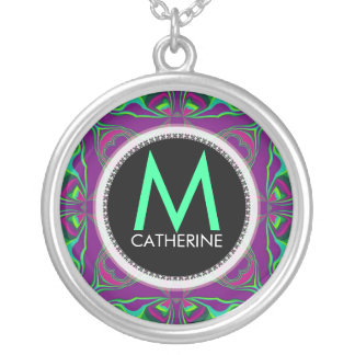 Monogram Name Purple Green Psychedelic Gift Neckla Round Pendant Necklace