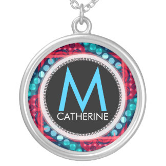 Monogram Name Red Blue Abstract Gift Necklace