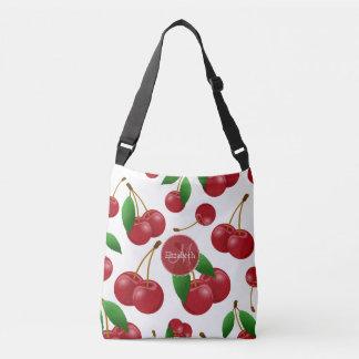 monogram name sweet summertime cherries patterned crossbody bag