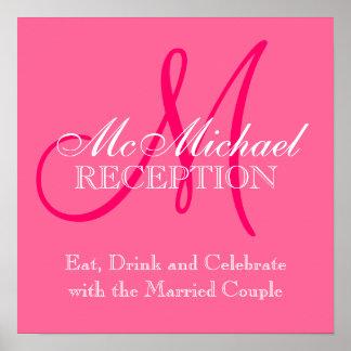 Monogram Name Wedding Reception Sign Pink Poster
