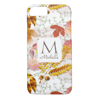 Monogram & Name with Fall Leaves & Vines iPone 7 iPhone 7 Case