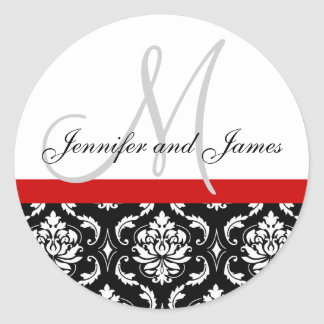 Monogram & Names Damask Red Wedding Sticker