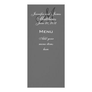 Monogram Names Date Wedding Menu Cards Grey