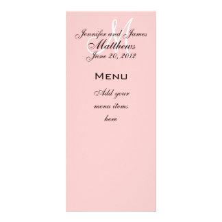 Monogram Names Date Wedding Menu Cards Soft Pink