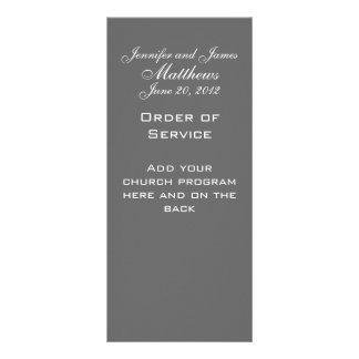 Monogram Names Date Wedding Service Church Program Rack Card