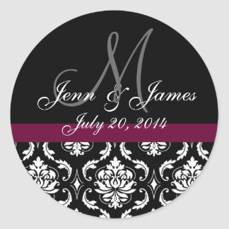 Monogram Names Date Wine Damask Wedding Seal Round Sticker