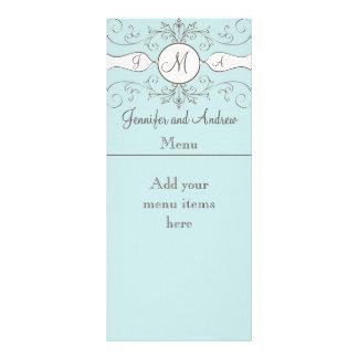 Monogram Names Wedding Menu Cards Blue