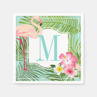 Monogram Napkins | Tropical Flamingo with Flowers Paper Napkin