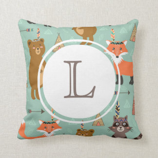 Monogram Native Forest Friends Pillow