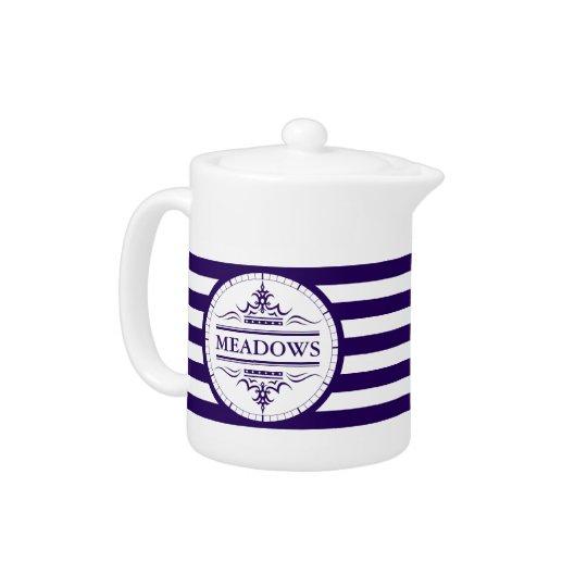 Monogram Nautical Classic Navy Blue Elegant Teapot