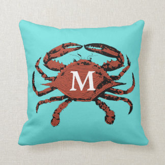 Monogram Nautical Crab Teal Unique | Throw Pillows