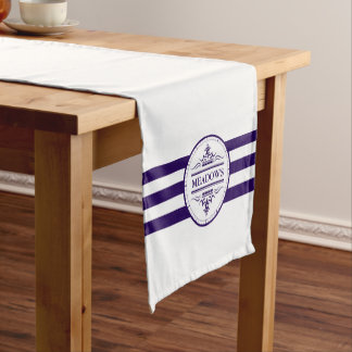 Monogram Nautical Elegant Navy Blue Table Runner
