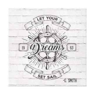 Monogram. Nautical. Life Quote. Canvas Print