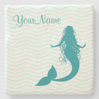 Monogram Nautical Mermaid Stone Beverage Coaster