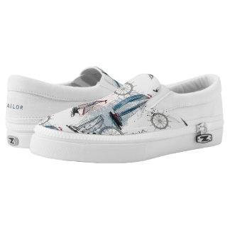 Monogram. Nautical Pattern. Printed Shoes