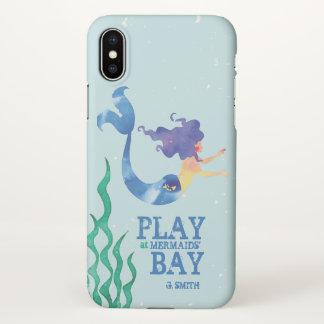 Monogram. Nautical. Watercolor Mermaid. iPhone X Case
