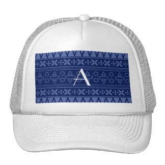 Monogram navy blue aztec pattern trucker hats