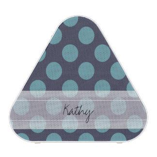 Monogram Navy Blue Baby Blue Polka Dot Pattern