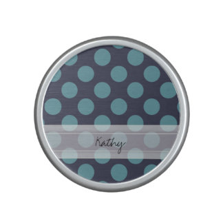 Monogram Navy Blue Baby Blue Polka Dot Pattern Speaker