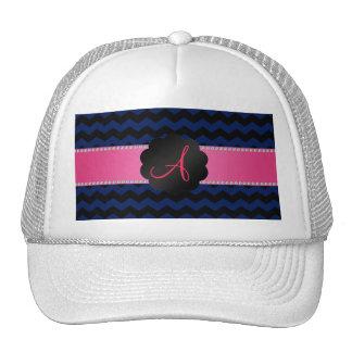 Monogram navy blue black chevrons cap
