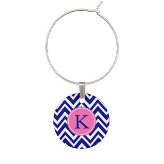 Monogram Navy Blue Chevron Pattern with Hot Pink Wine Charm