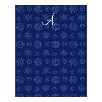 Monogram navy blue christmas stars snowflakes full color flyer