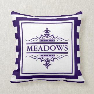 Monogram Navy Blue Elegant Nautical Throw Pillow