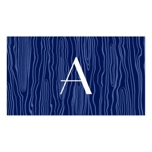 Monogram navy blue faux bois business card