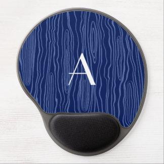 Monogram navy blue faux bois gel mouse pad