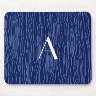 Monogram navy blue faux bois mouse pad
