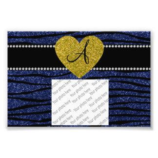 Monogram navy blue glitter zebra stripes heart photo