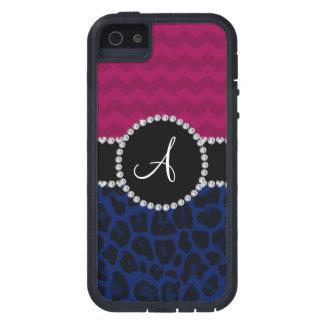 Monogram navy blue leopard plum chevrons iPhone 5 cases